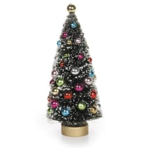 Darice Green Sisal Tree with Frost and Beads on Gold Wood Base, 6.5 by 2.75-Inch Party Supplies, for $14