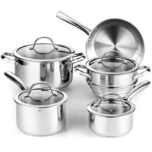 Cooks Standard 9-Piece Classic Stainless Steel Cookware Set for $97