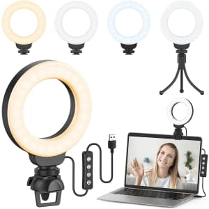 """Ruyilam 4"""" LED Ring Light with Clip and Tripod for $20"""