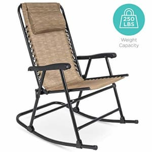 Best Choice Products Foldable Zero Gravity Rocking Patio Recliner Chair Beige for $118