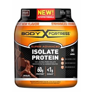 Body Fortress Super Advanced Whey Protein Isolate Powder, Gluten Free, Chocolate, 1.5 lbs for $28