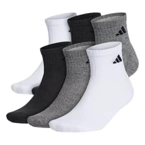 adidas Athletic Cushioned Quarter Socks (6-Pair) for $42