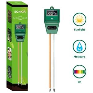 Sonkir 3-in-1 Soil Moisture/Light/pH Tester for $11