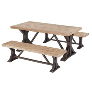 Hampton Bay Silver Oaks Farmhouse 3-Piece Teak Wood Patio Dining Set for $499