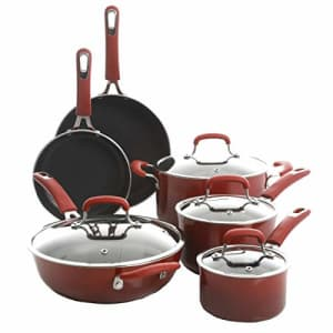Kenmore Andover Nonstick Forged Aluminum Cookware, 10-Piece Set, Red Gradient for $128