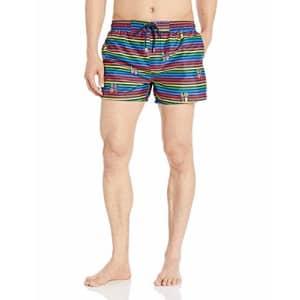 2(X)IST Men's Pride Ibiza Swim Trunk Swimwear, Love Stripe/Rainbow, X-Large for $47