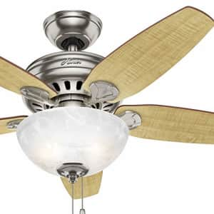 Hunter Fan 44 inch Brushed Nickel Indoor Ceiling Fan with Light Kit (Renewed) for $51