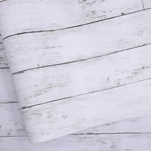 Abyssaly Self-Adhesive White Gray Wood Paper for $20