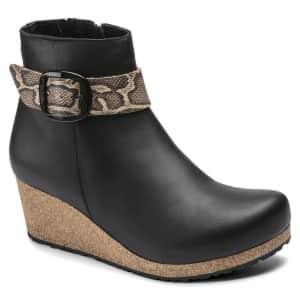 Birkenstock Women's Elli Big Buckle Leather Wedge Booties for $138