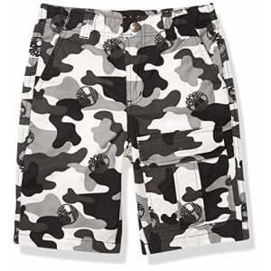 Timberland Boys' Camo Utility Pocket Shorts, Black, 8 for $25