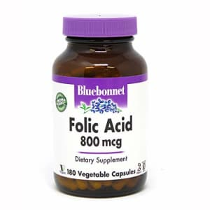 Bluebonnet Folic Acid 800 mcg Vegetable Capsules, 180 Count for $16