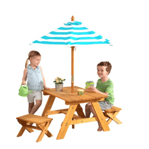 KidKraft Outdoor Wooden Table & Bench Set w/ Striped Umbrella for $66