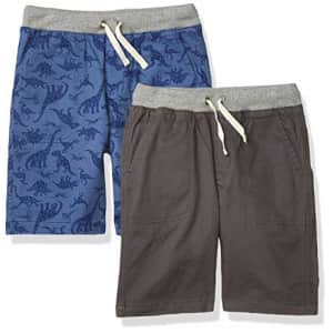 Amazon Essentials Toddler Boys Pull-On Woven Shorts, 2-Pack Blue Dinosaur/Dark Grey, 2T for $34