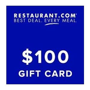 $100 Restaurant.com eGift Card: $18