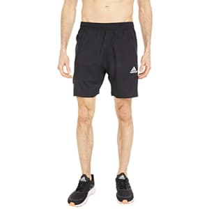 adidas Men's Standard Aeroready 3-Stripes 8-inch Shorts, Black/White, Small for $26