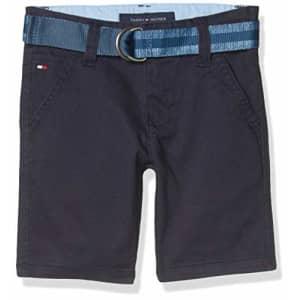 Tommy Hilfiger Kids Boys' Belted Flat Front Twill Short, 405 Swim Navy, 7 for $24
