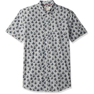 Amazon Brand - Goodthreads Men's Slim-Fit Short-Sleeve Printed Poplin Shirt, -Boats, X-Large for $25