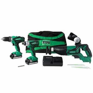 Metabo HPT KC18DG4LS 18V Cordless 4-Tool Combo Kit, Hammer Drill, Impact Driver, Reciprocating Saw, for $296