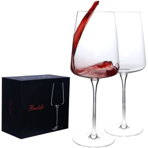 Baclife Hand Blown Crystal Bordeaux Wine Glass Set for $13