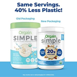 Orgain Simple Organic Plant Protein Powder, Vanilla, Vegan, Made with Fewer Ingredients and Without for $35