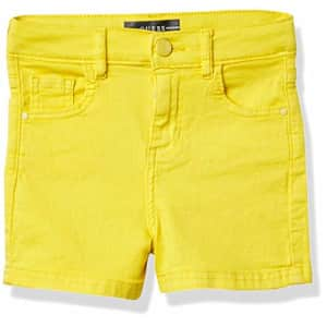 GUESS Girls' Big Bull Denim 5 Pocket Short, Summer Yellow, 14 for $30