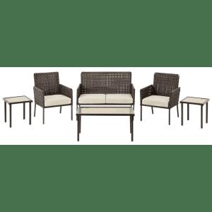 Hampton Bay Park Lane 6-Piece Wicker Patio Conversation Set for $255