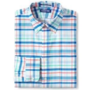 Lands' End Men's Pattern No Iron Supima Oxford Dress Shirt for $11