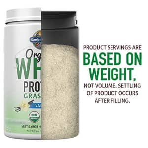 Garden of Life Certified Organic Grass Fed Whey Protein Powder - Vanilla, 12 Servings - 21g for $36