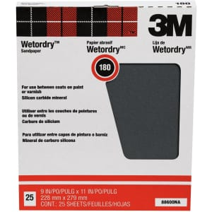3M Wet or Dry 180-Grit Sanding Sheets 25-Pack for $20