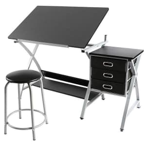 SmileMart Adjustable Steel Drafting Table with Stool for $105