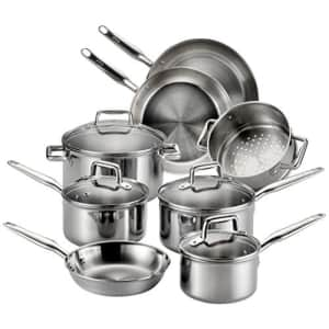 T-fal Stainless Steel Cookware, Multi-Clad, Dishwasher Safe and Oven Safe Cookware Set, Tri-Ply for $184