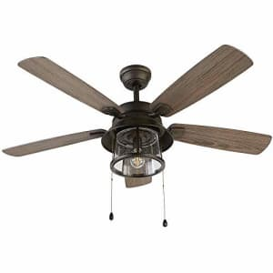 Home Decorators Collection Shanahan 52 in. LED Indoor/Outdoor Bronze Ceiling Fan with Light Kit for $145