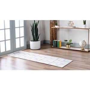 Unique Loom Trellis Frieze Collection Lattice Moroccan Geometric Modern Ivory Runner Rug (2' 0 x 6' for $21