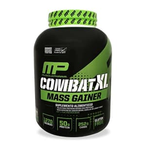 Muscle Pharm MusclePharm Combat XL Mass Gainer Powder, Weight Gainer Protein Powder, Chocolate, 6 Pounds, 8+ for $30