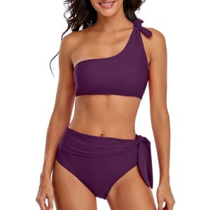 Bonim One Shoulder 2-Piece Bathing Suit for $7