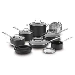 Cuisinart 14 Piece Chef's Classic Non-Stick Hard Anodized Cookware Set, Gray for $136
