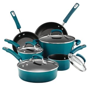 Rachael Ray Brights Nonstick Cookware Pots and Pans Set, 10 Piece, Marine Blue for $120