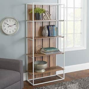 Walker Edison Furniture Company Rustic Farmhouse Metal and Wood Bookcase Bookshelf Home Office for $140