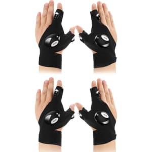 FomaTrade LED Flashlight Magic Strap Fingerless Gloves (Set of 2 pair) for $13