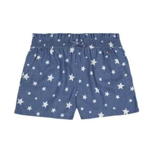 Tommy Hilfiger Girls' Pull On Short, Elastic Waist & Faux Drawstring, S21 Star Blue, 4T for $14