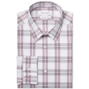 Calvin Klein Men's Logo Slim Fit Stretch Collar Dress Shirt for $20
