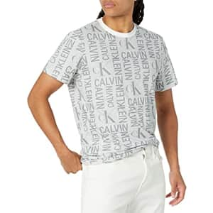 Calvin Klein Men's Ck Fashion Logo Short-Sleeve Crew Neck T-Shirt, Light Grey Heat, L for $24