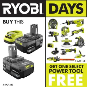 Ryobi One+ 18V Li-ion 4Ah Battery 2-Pack and Charger Kit for $99 + free power tool