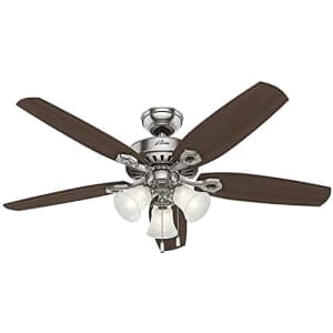 """Hunter Fan Hunter Builder Plus Indoor Ceiling Fan with LED Lights and Pull Chain Control, 52"""", Brushed Nickel for $300"""