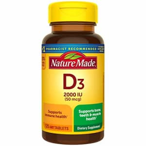 Nature Made Vitamin D3, 125 Tablets, Vitamin D 2000 IU (50 mcg) Helps Support Immune Health, Strong Bones and for $7