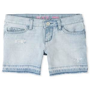 The Children's Place Girls' Let Down Hem Distressed Denim Midi Shorts Ice Wash 6 for $10