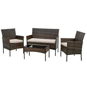 FDW Patio Furniture Set 4 Pieces Outdoor Rattan Chair Wicker Sofa Garden Conversation Bistro Sets for $217