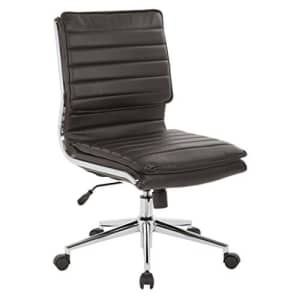 Office Star Faux Leather Armless Mid Back Managers Chair with Chrome Base, Espresso for $372