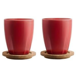 Kosta Boda Bruk Mug w/ Oak Lid Set of 2 for $9