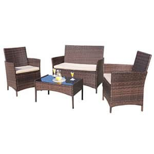 Homall 4 Pieces Outdoor Patio Furniture Sets Rattan Chair Wicker Set, Outdoor Indoor Use Backyard for $190
